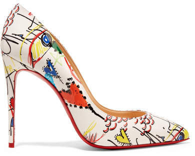 Christian Louboutin - Pigalle 100 Printed Patent-leather Pumps - White