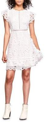 BB Dakota Flutter-Sleeve Lace Fit-&-Flare Dress