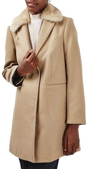 TopshopWomen's Topshop Faux Fur Collar Coat