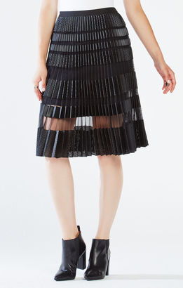 Taura Striped Faux-Leather Pleated Skirt $338 thestylecure.com