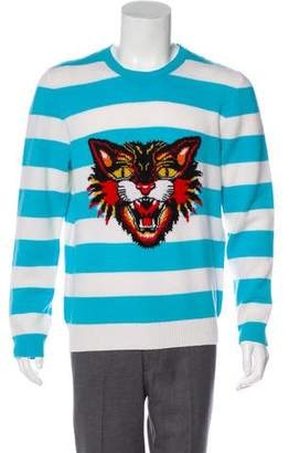 Gucci 2017 Striped Angry Cat Wool Sweater