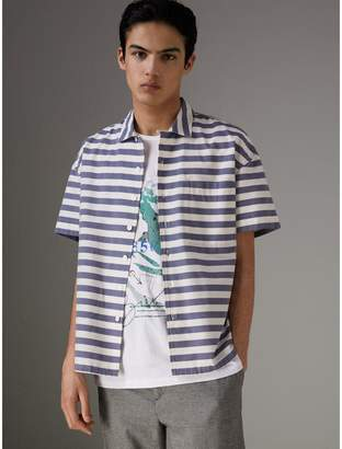Burberry Short-sleeve Striped Cotton Shirt , Size: XXXL