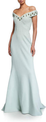 Zac Posen Off-the-Shoulder Embroidered Gown