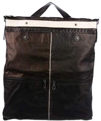 Bottega Veneta Intrecciato-Accented Leather Messenger