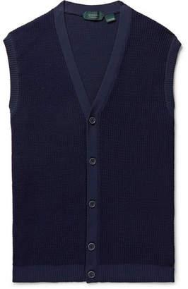 Incotex Slim-Fit Waffle-Knit Sweater Vest