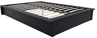 DHP Maven Platform Bed with Upholstered Faux Leather and Wooden Slat Support