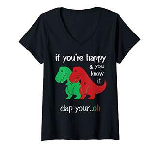 Womens If You're Happy & You Know It Clap Your Hand V-Neck T-Shirt
