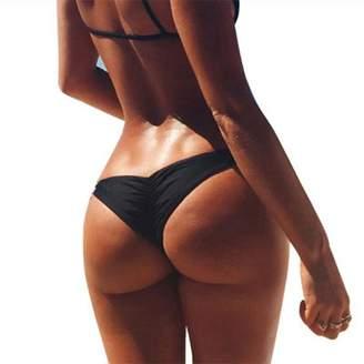 Cocobla Women Brazilian Cheeky Bikini Bottom Ruched Back Mini Itsy Swimwear Bathing Thong (US 2/4 (M), FluorescentGreen)