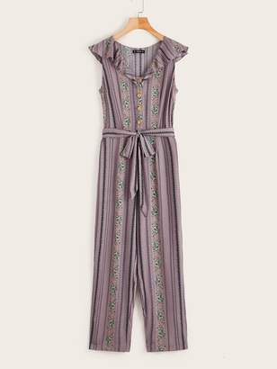 Shein Lettuce Trim Buttoned Front Belted Tribal Print Jumpsuit