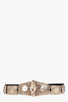 boohoo Textured Metal Plate Waist Belt
