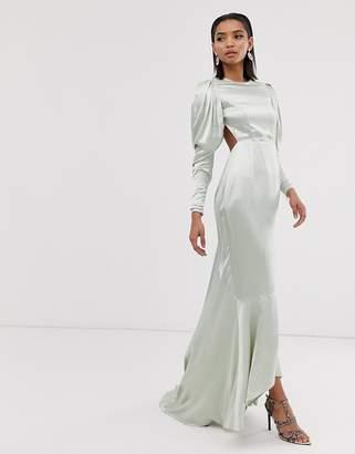 Asos Edition EDITION satin fishtail maxi dress with dramatic sleeve