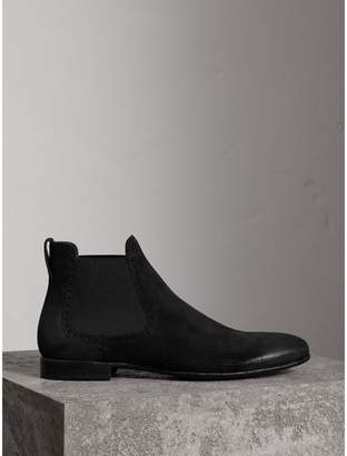 Burberry Brogue Detail Suede Chelsea Boots