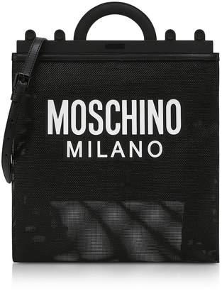 Moschino Black Mesh Logo Shopper Bag