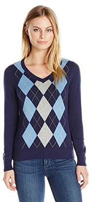Caribbean Joe Women's Petite V-Neck Argyle Pullover Sweater