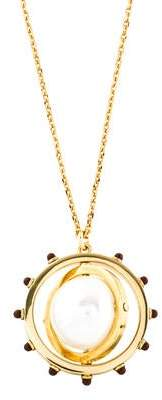 Tory Burch Faux Pearl Spinning Pendant Necklace