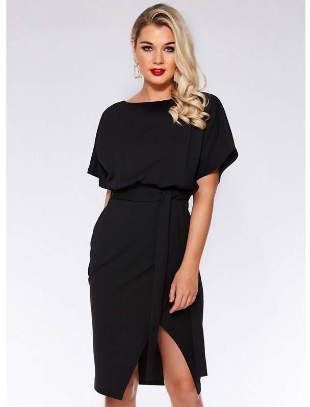 Black Batwing Belted Dress