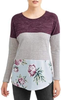 Tru Self Women's Long Sleeve Crochet Back T-Shirt