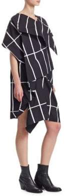 Junya Watanabe Geometric Print Layered Tucked Dress