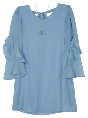 Amy Byer Georgette Tiered Sleeve Dress with Necklace (Big Girls)