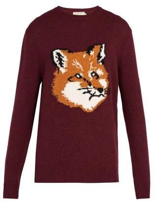 Maison Kitsune - Fox Intarsia Wool Sweater - Mens - Dark Red