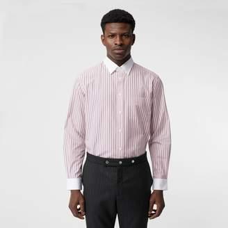 Burberry Classic Fit Monogram Motif Striped Cotton Shirt