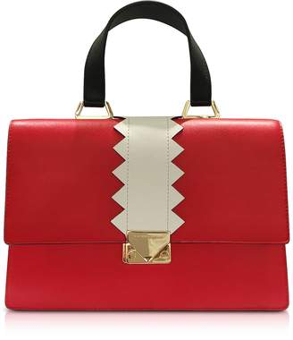 Emporio Armani Red Smooth Leather Satchel Bag