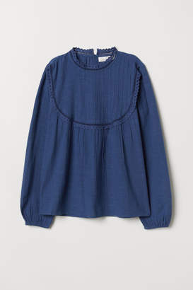 H&M Stand-up Collar Cotton Blouse - Blue