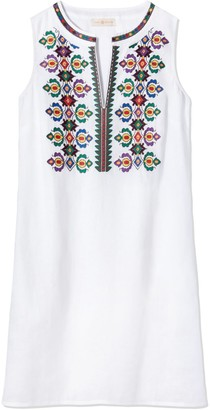 Tory Burch EMBROIDERED SLEEVELESS DRESS