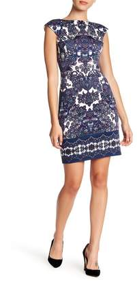 London Times Patterned Cap Sleeve Ponte Dress (Petite)