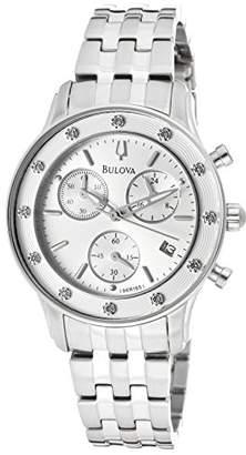 Bulova Women's Diamond Chronograph Stainless Steel Silver-Tone Dial