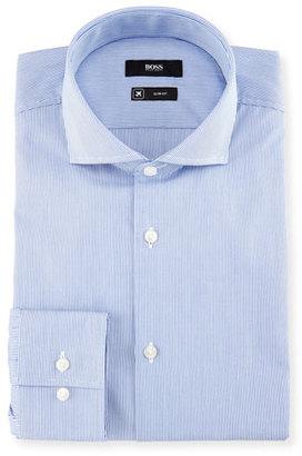 BOSS Slim-Fit Micro-Stripe Travel Dress Shirt, Blue/White $175 thestylecure.com