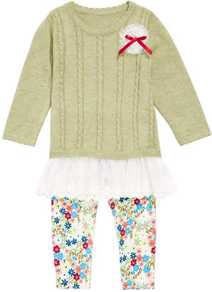 Bonnie Baby Baby Girls Flounce Sweater & Printed Leggings Set