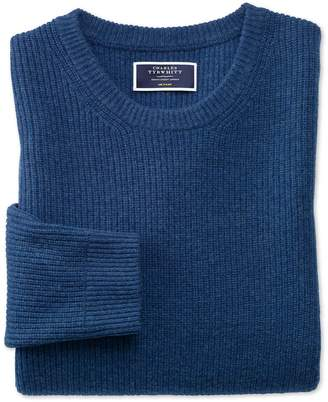Charles Tyrwhitt Blue Lambswool Rib Crew Neck Sweater Size XL