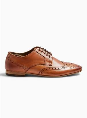 Topman Mens Brown Tan Real Leather Ferris Brogue Shoes