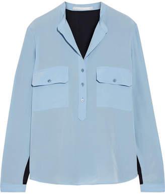 Stella McCartney - Estelle Two-tone Silk Crepe De Chine Shirt - Light blue $645 thestylecure.com