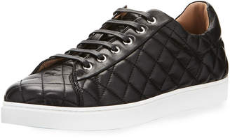 Gianvito Rossi Men's Quilted Leather Low-Top Sneaker Black (Nero)