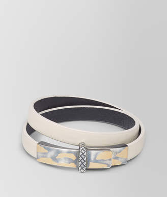 Bottega Veneta MIST LEATHER/OXIDIZED SILVER BRACELET