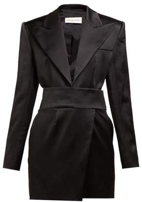 Alexandre Vauthier Tuxedo Jacket Satin Mini Dress - Womens - Black