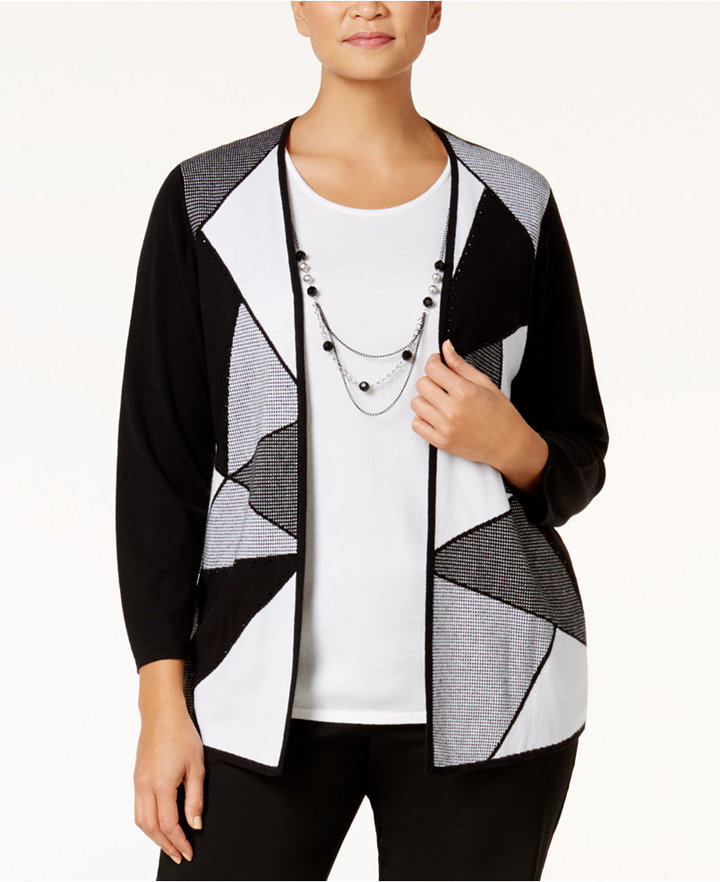 Alfred Dunner Alfred Dunner Plus Size City Life Collection Colorblocked Layered-Look Sweater