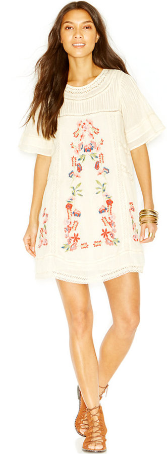 Free People Perfectly Victorian Embroidered Shift Dress
