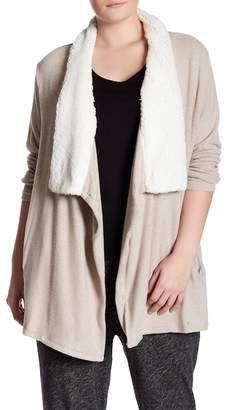 Susina Faux Shearling Draped Collar Cardigan (Plus Size)
