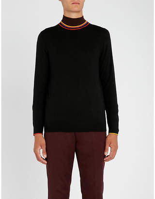 Paul Smith Striped-trim crewneck wool jumper