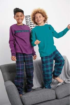 Next Boys Purple/Teal 2 Pack Slogan Check Woven Pyjamas (3-16yrs) - Purple