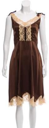 Anna Sui Silk Knee-Length Dress Brown Silk Knee-Length Dress