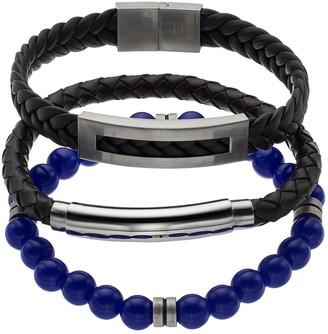 Lapis 1913 Men's 3-Piece Black Leather & Lab-Created Lazuli Bracelet Set