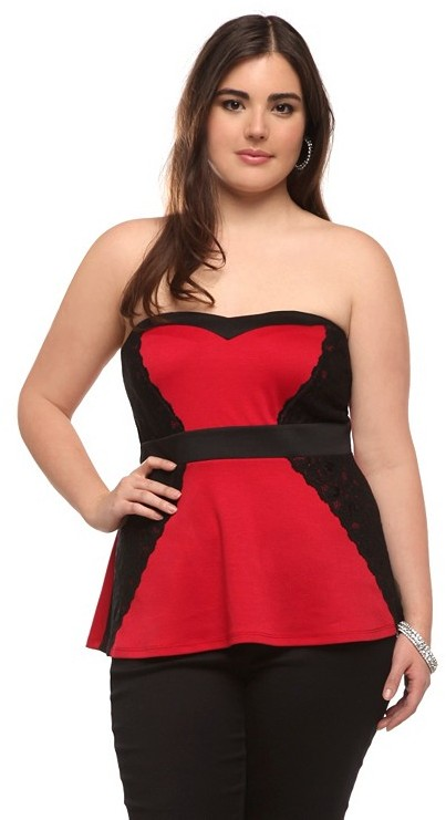 Red And Black Lace Peplum Strapless Top