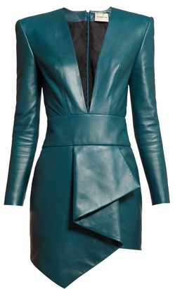 Alexandre Vauthier Plunge Neck Leather Mini Dress - Womens - Blue