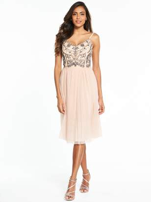 Little Mistress Jewelled Midi Dress - Nude