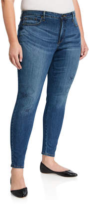 NYDJ Plus Ami Skinny Jeans with Floral Fauna Embroidery