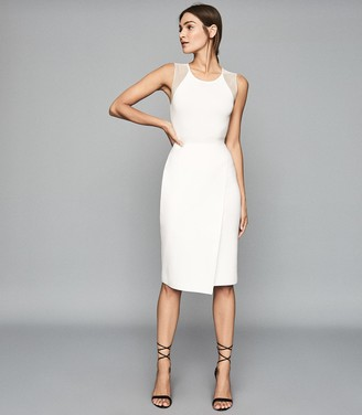 Reiss LEILA KNITTED BODYCON DRESS White